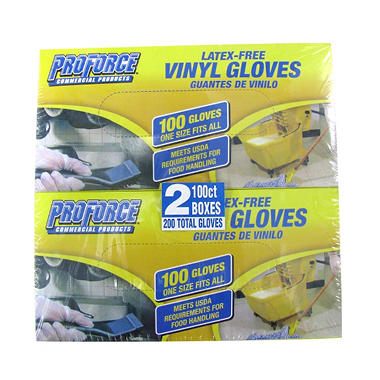 ProForce Vinyl Gloves - Latex Free - One Size - 200 ct.