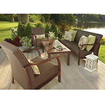 Nevis 4-Piece Deep Seating Set with Premium Sunbrella Fabric