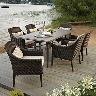 Elijah 7-Piece Dining Set with Premium Sunbrella Fabric