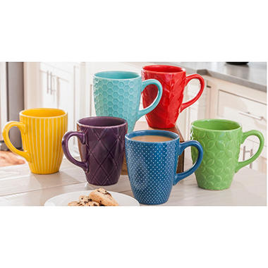 6 PC STONEWARE MUGS DAILY CHEF