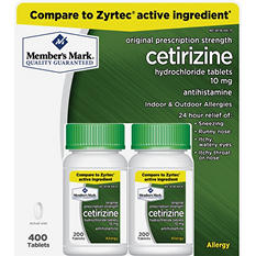 Member's Mark 10 mg Cetirizine Hydrochloride Antihistamine (400 ct.)