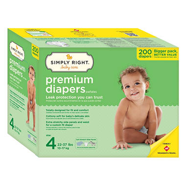 Simply Right Premium Diapers, Size 4 (22-37 lbs.), 200 ct.