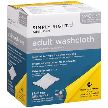 Simply Right Adult Washcloths - 240 ct.