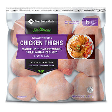 Daily Chef™ Boneless Skinless Chicken Thigh Portions - 6 lb.