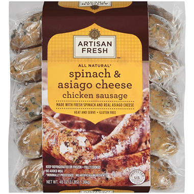 Artisan Fresh All Natural Spinach & Asiago Cheese Chicken Sausage  - 3 lbs.