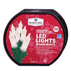 LED Diamond-Cut Mini Lights - Warm White (200 Count)