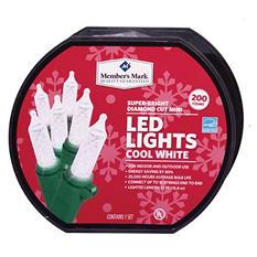 LED Diamond-Cut Mini Lights - Cool White (200 Count)