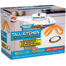 Member's Mark Tall Kitchen Simple Fit Drawstring Bags (13gal., 200ct.)