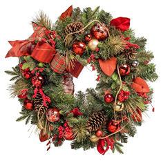 """32"""" Premium Decorated Wreath, Red Accents"""