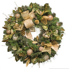 "32"" Premium Decorated Wreath, Gold Accents"