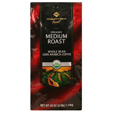 Member's Mark Medium Roast Organic Whole Bean Coffee - 2.5 lbs.