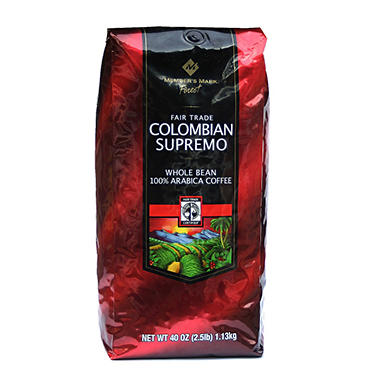Member's Mark Finest Colombia Supremo Fair Trade Certified Whole Bean Coffee - 2.5 lbs.