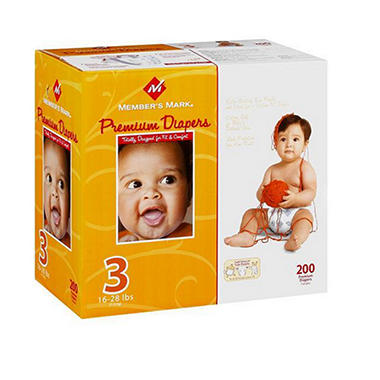 Member's Mark Premium Diapers, Size 3 (16-28 lbs.), 200 ct.