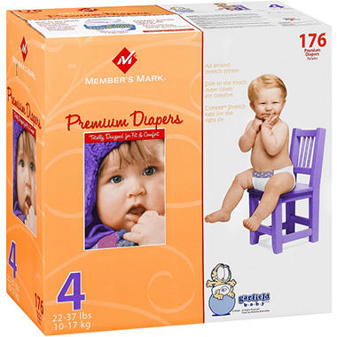 Member's Mark Premium Diapers, Size 4 (22-37 lbs.), 176 ct.