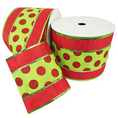 "Member's Mark Premium Wired Ribbon, Red Glitter Dots on Lime/Red Satin 5"" (2 pk., 25 yd. each)"