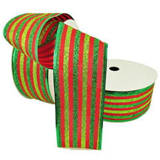 "Member's Mark Premium Wired Ribbon, Lime/Green Glitter Stripes on Red Satin 2.5"" (2 pk., 50 yd. each)"