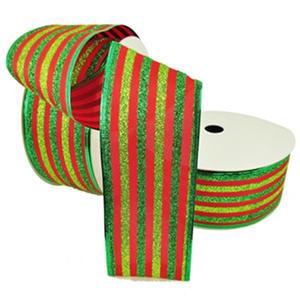 "Member's Mark Premium Wired Ribbon, Lime/Green Glitter Stripes on Red Satin 2.5"" (2 pk., 50 yd. each)"