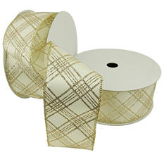 "Member's Mark Premium Wired Ribbon, Plaid in Champagne Glitter on Ivory Satin 2.5"" (2 pk., 50 yd. each)"