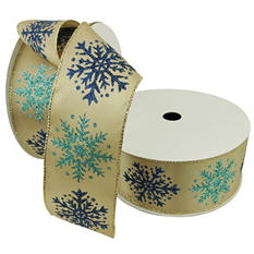 """Member's Mark Premium Wired Ribbon, Teal and Navy Glitter Snowflakes on Taupe Satin 2.5"""" (2 pk., 50 yd. each)"""