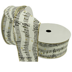 "Member's Mark Premium Wired Ribbon, Music Notes on Ivory Burlap 2.5"" (2 pk., 50 yd. each)"
