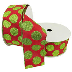 "Member's Mark Premium Wired Ribbon, Lime Glitter Dots on Red Satin 2.5"" (2 pk., 50 yd. each)"