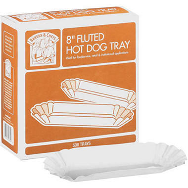 Bakers & Chefs Fluted Hot Dog Tray - 8