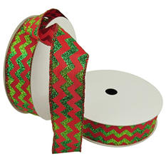 "Member's Mark Premium Wired Ribbon, Chevron Emerald Glitter on Red Satin 1.5"" (2 pk., 50 yd. each)"