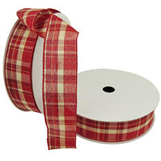 """Member's Mark Premium Wired Ribbon, Plaid Red and Ivory 1.5"""" (2 pk., 50 yd. each)"""