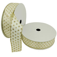 "Member's Mark Premium Wired Ribbon, Champagne Glitter Mini Dots on Ivory Satin 1.5"" (2 pk., 50 yd. each)"