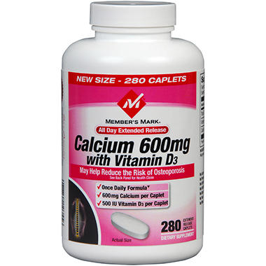 Member's Mark Calcium 600mg w/D3 - 280 ct.
