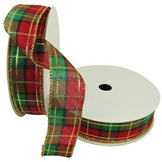 "Member's Mark Premium Wired Ribbon, Plaid in Emerald, Red, Gold 1.5"" (2 pk., 50 yd. each)"