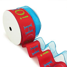 "Member's Mark Premium Wired Ribbon, Blue Glitter on Blue Sheer 1.5"" and HO HO HO! on Red Satin 2.5"" (2 pk., 50 yd. each)"