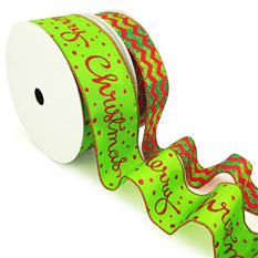 """Member's Mark Premium Wired Ribbon, Chevron Emerald Glitter on Red Satin 1.5"""" and Merry Christmas Script on Lime Satin 2.5"""" (2 pk., 50 yd. each)"""