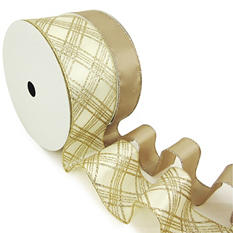"""Member's Mark Premium Wired Ribbon, Taupe Satin 1.5"""" and Plaid Champagne Glitter on Ivory Satin 2.5"""" (2 pk., 50 yd. each)"""