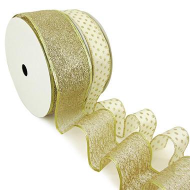 Member's Mark Premium Wired Ribbon, Champagne Glitter Mini Dots on Ivory Satin 1.5