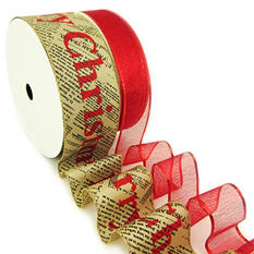 """Member's Mark Premium Wired Ribbon, Red Woven Metallic 1.5"""" and Merry Christmas on Newsprint Taupe Satin 2.5"""" (2 pk., 50 yd. each)"""