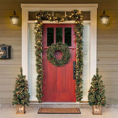 5-Piece Pre-lit Holiday Entryway Set