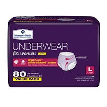 Member's Mark Protective Underwear for Women, Large (80 ct.)