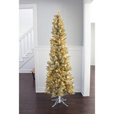 7 ft Member's Mark Artificial Pre-Lit Champagne Evergleam Tinsel Christmas Tree