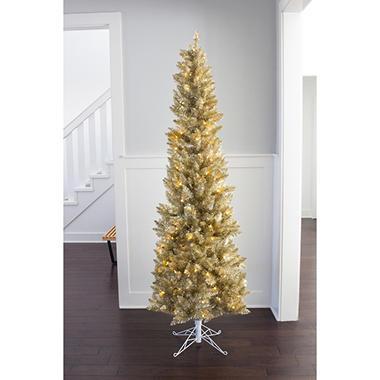 7 ft Pre-Lit Champagne Evergleam Christmas Tree