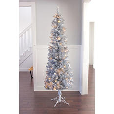 7 ft Member's Mark Artificial Pre-Lit Silver Evergleam Tinsel Christmas Tree