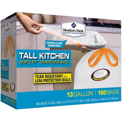 Member's Mark 13 gal. Tall Kitchen Drawstring Trash bags (180 ct.)