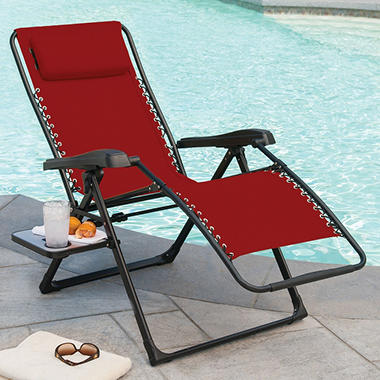 Members mark xl sunbrella reclining chair red sam 39 s club for Anti gravity chaise recliner