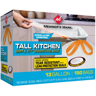 Member S Mark Tall Kitchen Simple Fit Drawstring Bags Reviews