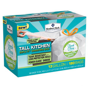 Member's Mark Tall Kitchen Simple Fit Drawstring Bags with Fresh Clean Scent (13 Gal., 180-Ct.)
