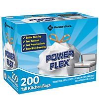 Member's Mark Power Flex Tall Kitchen Simple Fit Drawstring Bags (13 gal., 200 ct.)