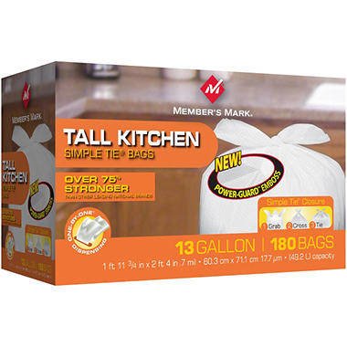 Member's Mark 13 gal. Tall Kitchen Simple Tie Trash Bags (180 ct.)