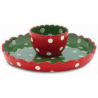 Holiday Chips and Dip/Cake Platter - Dots Theme