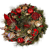 "Member's Mark Pre-lit 32"" Wreath Decorated in Classic Holiday Colors"