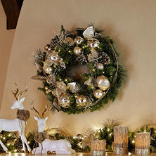 "Member's Mark 32"" Pre-Lit Decorated Wreath with Metallic Tones"